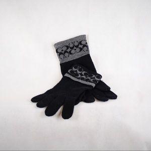 NWT Coach Signature Black/Charcoal Gloves